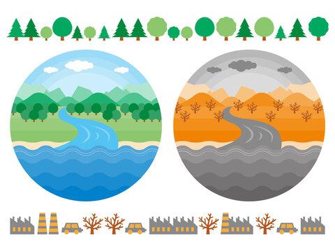 山から川が海に流れるまでの自然環境のイラストセット きれいな環境と汚れた環境を比較している