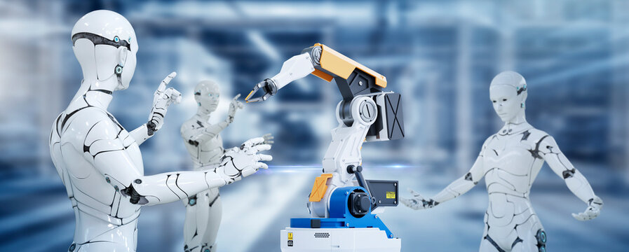 3D Humanoid robot and robot arm working automated in factory futuristic modern tech. Future digital technology AI artificial intelligence in industrial factory production line concept.