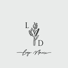 Fototapeta Botanical Initial Logo Design Template Letter LD obraz