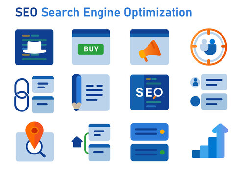 SEO search engine optimization icon set of white hat buy icon user target link building backlink local sitemap and social media