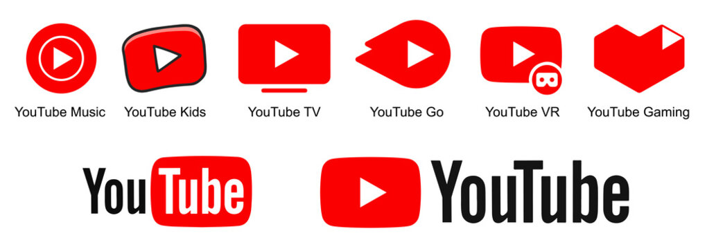 Kiev, Ukraine - July 04, 2021: Set Official logotypes of Youtube apps. Youtube: Music, TV, Kids, Go, VR, Gaming. Collection YouTube logos. Editorial vector