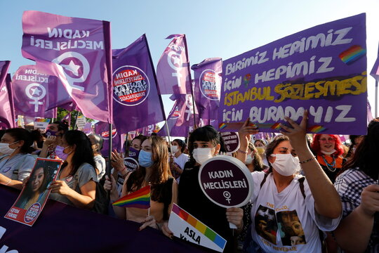 Protest against Turkey's withdrawal from the Istanbul Convention, in Istanbul
