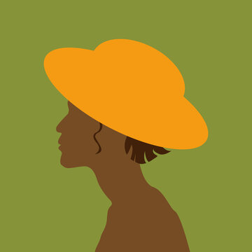 A beautiful tanned girl with short hair in a yellow hat