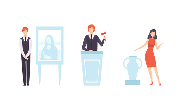 People Bidding in Public Auction, Auctioneer Selling Masterpieces at Auction House Flat Vector Illustration