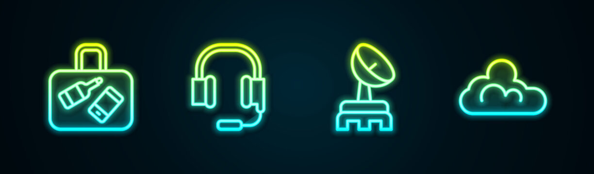 Set line Suitcase, Headphones with microphone, Radar and Cloud weather. Glowing neon icon. Vector