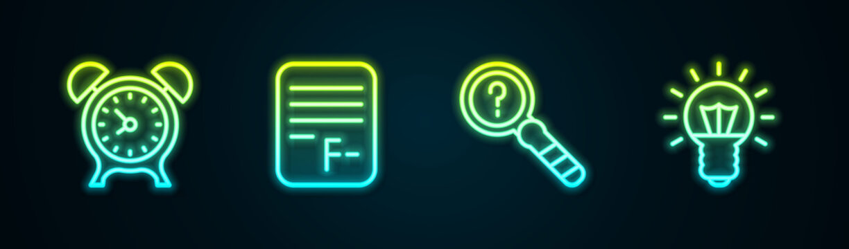 Set line Alarm clock, Exam paper with incorrect answers, Unknown search and Light bulb. Glowing neon icon. Vector