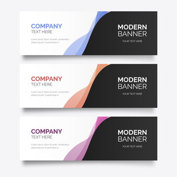 modern banner template with colorful wavy vector design illustration