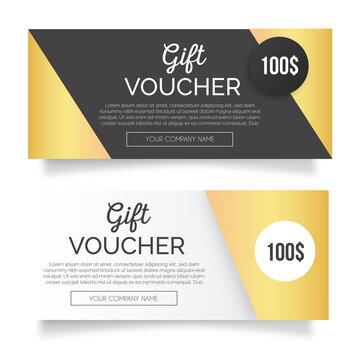 golden gift voucher banners vector design illustration