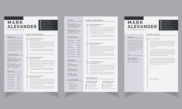 Creative CV resume templates Vector Design cover letter  job applications white