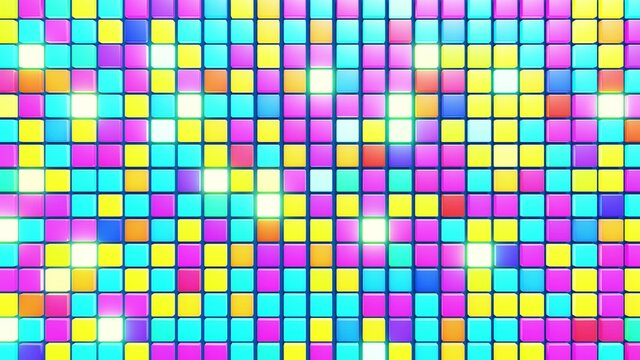 3d abstract simple geometric background with multicolor cubes. Random cubes flash with neon light on plane. Creative simple motion design background with 3d objects. 3d render