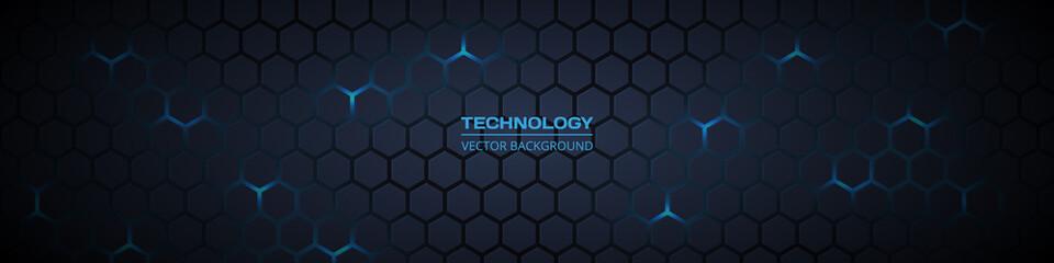 Fototapeta Dark grey and blue horizontal hexagonal technology abstract vector background. Blue bright energy flashes under hexagon in futuristic modern technology wide banner. Dark grey honeycomb texture grid. obraz