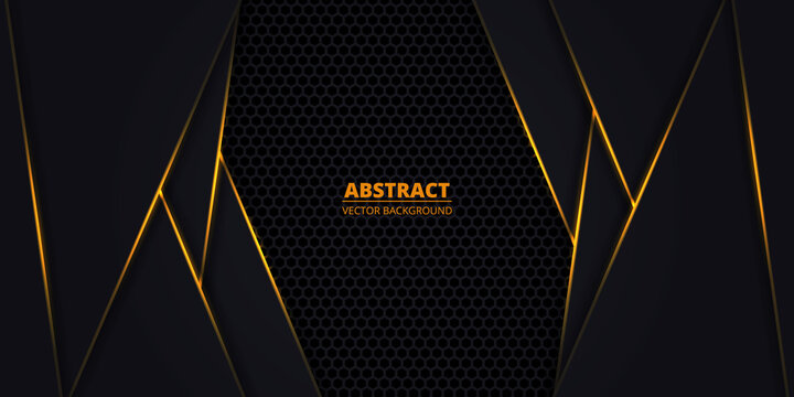 Black and orange abstract vector background with hexagon carbon fiber. Technology background with honeycomb grid and orange luminous lines. Futuristic luxury modern backdrop.