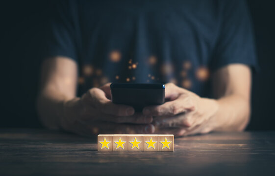 Happy customer review 5 stars rating in excellent service satisfaction