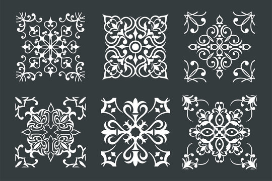 Set of vector tiles in black and white  designs