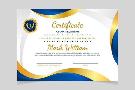Gradient Elegant Certificate With Golden Details
