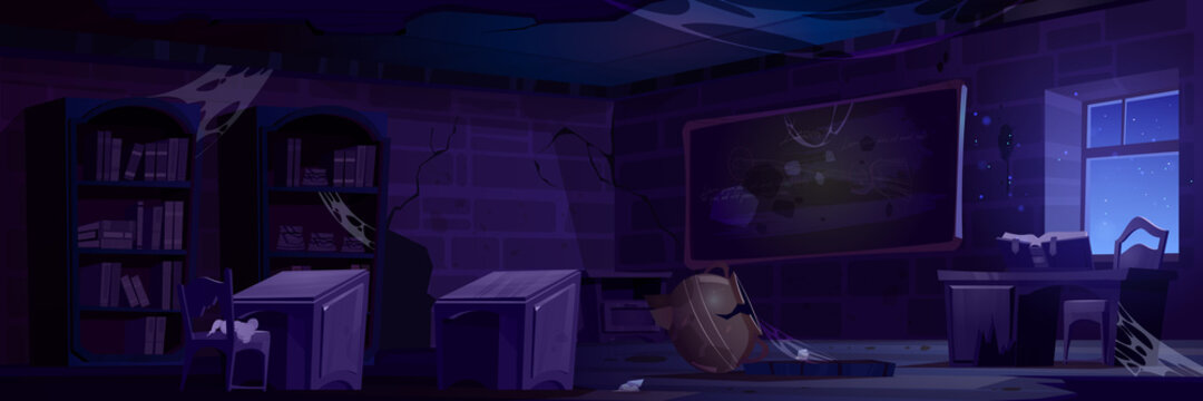 Abandoned magic school, night classroom interior with broken furniture, cracked walls, wooden desks and spider webs on blackboard with chalk writings, crushed cauldron, Cartoon vector illustration