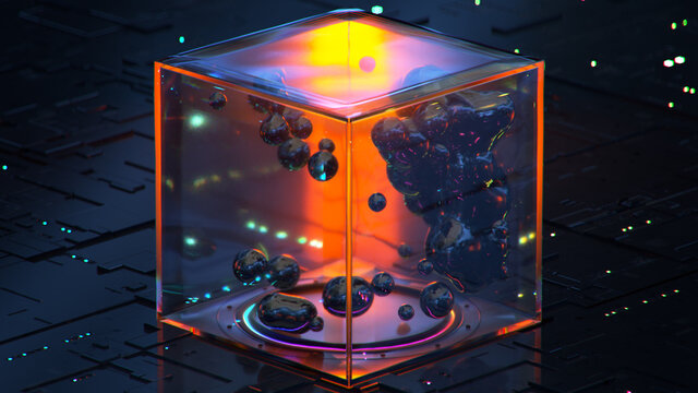 Abstract 3d rendering of sci-fi fluid with zero gravity