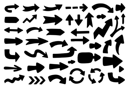 Vector set of black silhouettes of arrows. Design collection with arrows for presentation, and infographic. Hand-drawn, doodle elements isolated on white background.