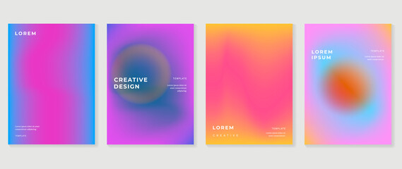 Obraz Fluid gradient background. Minimalist posters, cover, wall arts with colorful geometric shapes and liquid color. Modern wallpaper design for presentation, home decoration.  website and banner. - fototapety do salonu