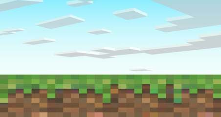 An eight-bit landscape with pixelated clouds and earth. Vector illustration