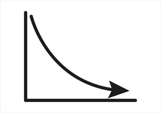 Gráfica estadística decreciendo en fondo blanco.