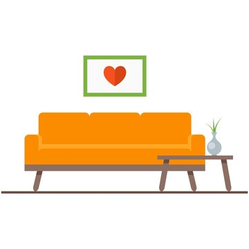 Vector couch for living room illustration couchsurfing icon