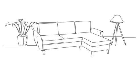 One continuous line drawing of couch or sofa with lamp and potted plant. Modern scandinavian furniture in simple linear style. Editable stroke Vector illustration