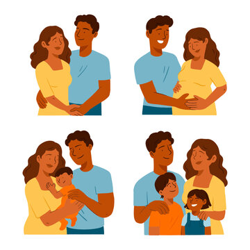Family members, couple with a baby, parents and children, people isolated vector