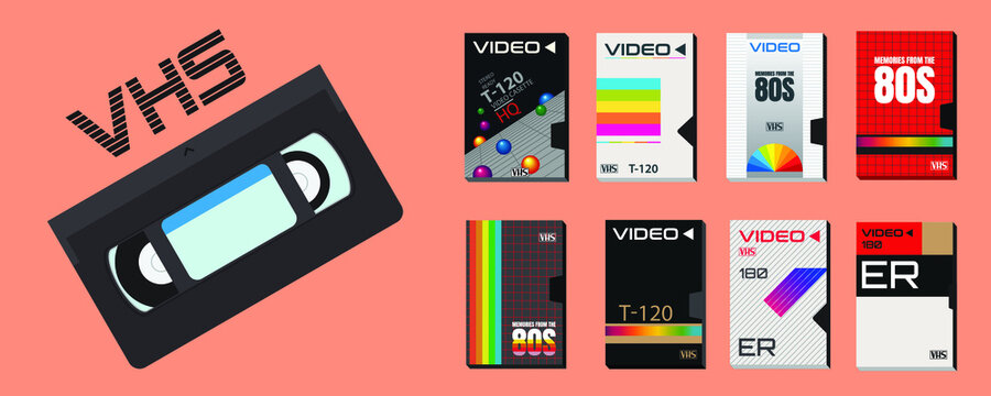 Collection of vector cassette tape old 80's style graphics. Incredible super blockbuster videos. VHS effect. 80's and 90's style. Retro vintage cover. Easy to edit design template