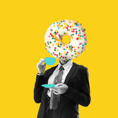 Fototapeta Composition with female body headed of sweet donut isolated on yellow neon background. Contemporary art collage, modern design. obraz