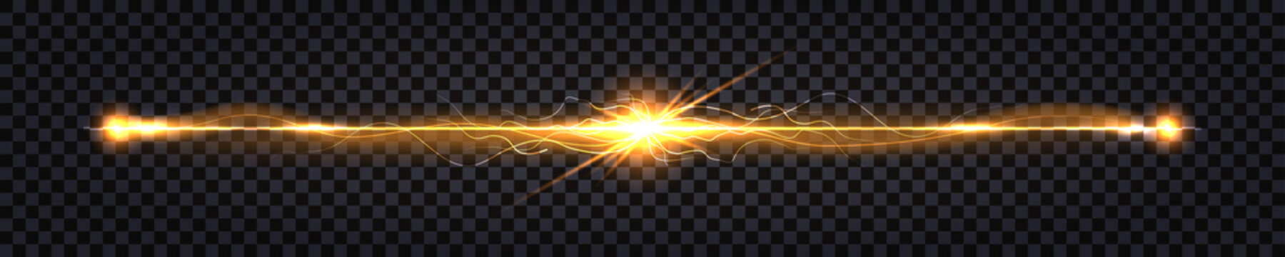 Electric discharge shock effect. Yellow light flash, electrical collision with two impulse burst. Glowing thunder bolt effect, line wire isolated on transparent background. Vector illustration