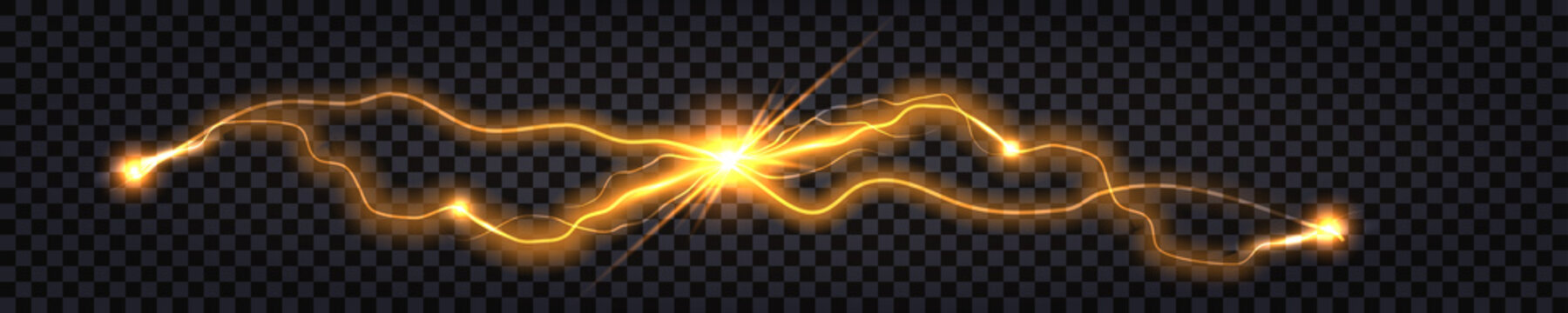 Electric discharge shock effect. Lightning collision, two vs impulse waves. Yellow light,  luminous thunder bolts, glowing flash sparkling electricity. Vector illustration