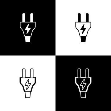 Set Electric plug icon isolated on black and white background. Concept of connection and disconnection of the electricity. Vector