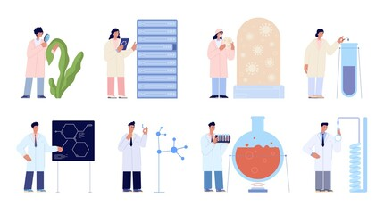 Lab scientists. Modern flat tech research girl, laboratory chemical science. Medical, biology experiment, innovation technology utter vector set