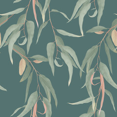 Foliage seamless pattern, green eucalyptus leaves on green