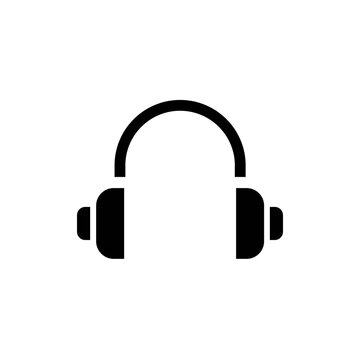 Simple minimalistic headphones, earphones solid black line icon. Trendy flat style isolated symbol, used for: illustration, outline, logo, mobile app, emblem, badge, design, web, ui, ux. Vector EPS 10