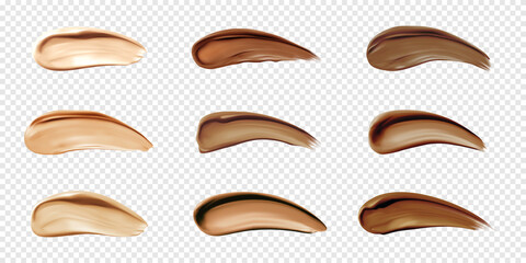 Obraz Cosmetic foundation swatches, smears of liquid concealer for makeup isolated on transparent background. Vector realistic set of light and dark bb cream smudges, beige and brown cosmetic strokes - fototapety do salonu