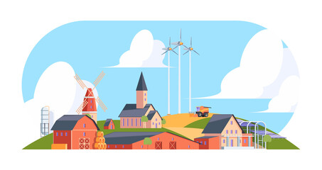 Agricultural background. Rural landscape with old village with farm buildings cottages windmill garish vector flat illustration