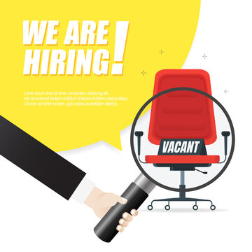 We are hiring, banner concept, vacant position. Empty office chair as a sign of free vacancy isolated on a white background. Send us your resume. Vector illustration.