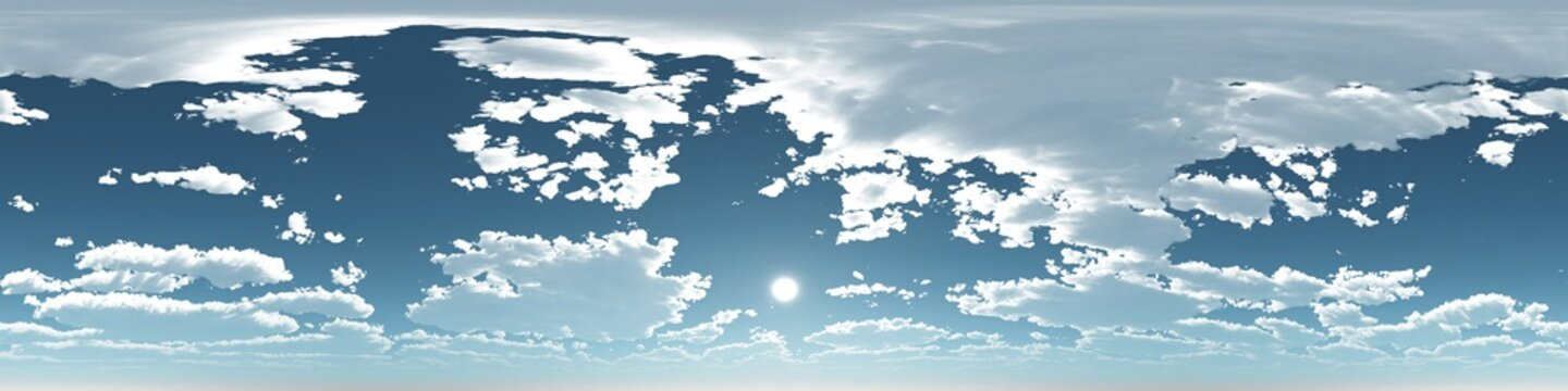 Seamless sky hdri panorama 360 degrees angle view with zenith and clouds for use as sky dome. 3d render illustration