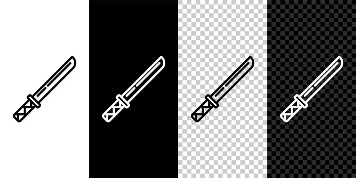 Set line Traditional Japanese katana icon isolated on black and white,transparent background. Japanese sword. Vector