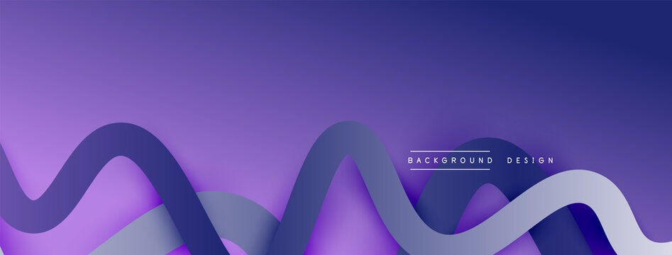 Abstract gradient background with wave line with shadow effect. Geometric composition. 3D shadow effects and fluid gradients
