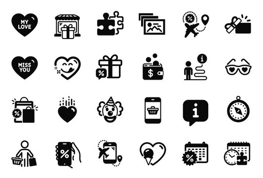 Vector Set of Holidays icons related to Travel compass, Gift shop and Puzzle time icons. Heart, Opened gift and Clown signs. Smartphone buying, Miss you and Photo album. Puzzle, Ice cream. Vector