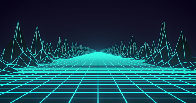 Image of glowing green grid and map with mountains moving on seamless loop