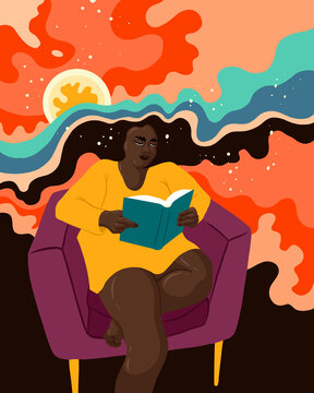 Person reading and imagining the book vividly with abstract shapes and patterns.