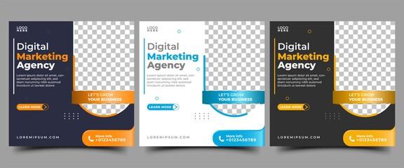 Digital marketing agency and Business social media post template design.