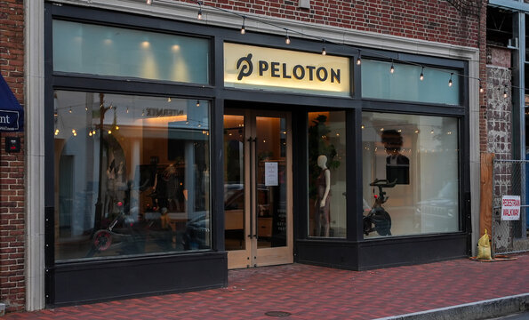 WESTPORT, CT, USA - JULY 4, 2021:  Peloton store entrance view from Main Street in dowm town area