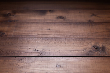 Obraz Dark wooden table top background texture.   Wood tabletop closeup as plank board surface - fototapety do salonu