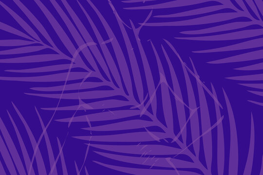 The silhouette of a woman hidden behind the leaves of a tropical tree. Vector graphics. Light purple background.