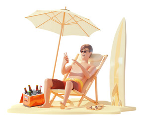 Fototapeta Summer beach travel and vacation. Young man in shorts sunbathing in deck chair with smartphone. Umbrella on sandy beach, surfboard, drinks in ice cooler box. Holidays on sea or ocean beach. 3d illustr obraz
